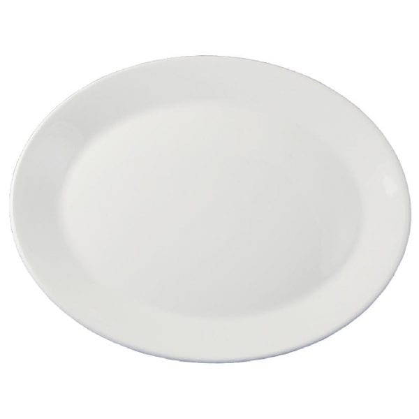 """Dudson Classic White Oval Platter (Rimless) - 26.7cm 10 1/2"""" (Box 24) (Direct)-0"""