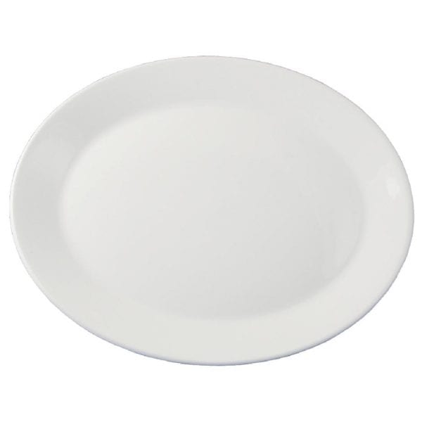 "Dudson Classic White Oval Platter (Rimless) - 29cm 11 1/2"" (Box 12) (Direct)-0"