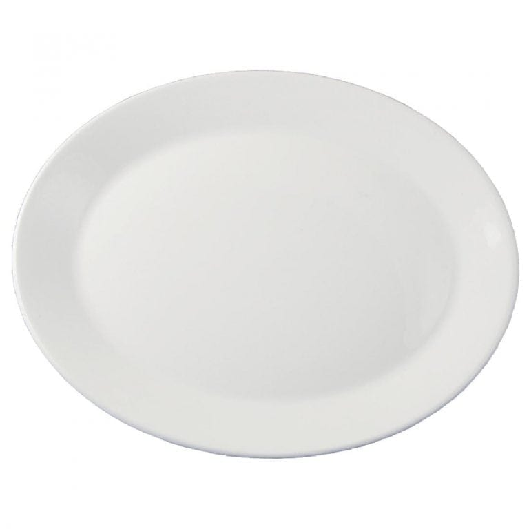 """Dudson Classic White Oval Platter (Rimless) - 29cm 11 1/2"""" (Box 12) (Direct)-0"""