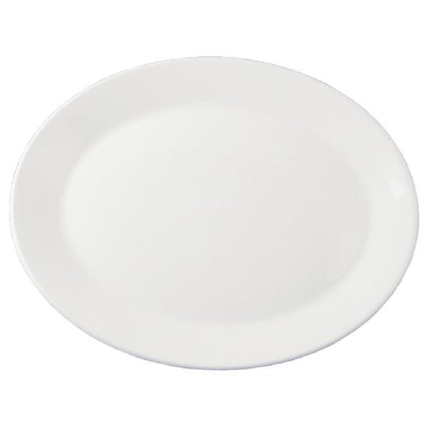 "Dudson Classic White Oval Platter (Rimless) - 31.8cm 12 1/2"" (Box 12) (Direct)-0"