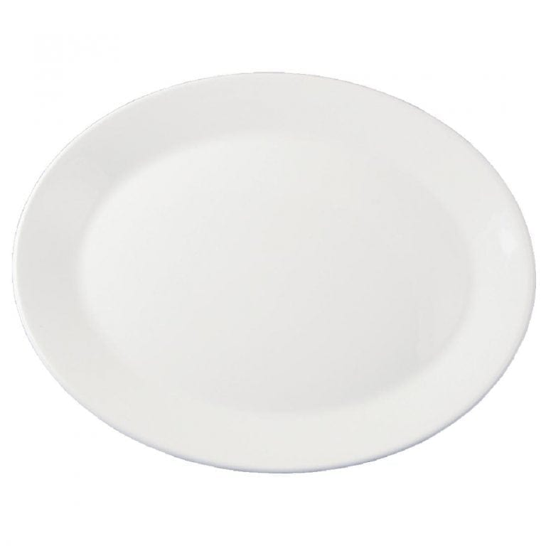 """Dudson Classic White Oval Platter (Rimless) - 31.8cm 12 1/2"""" (Box 12) (Direct)-0"""