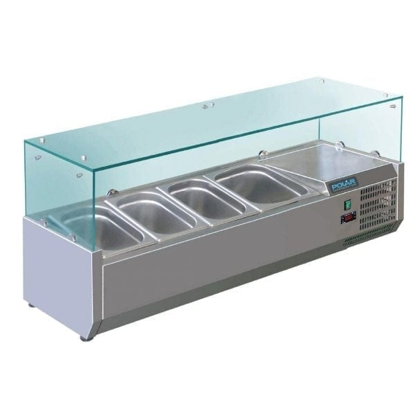 Polar Refrigerated Servery Topper - 1200mm 3x1/3 GN & 1x1/2 GN-0
