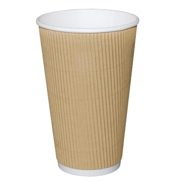 Fiesta Hot Cups Ripple Wall Kraft - 455ml (16oz) (Box 500)-0