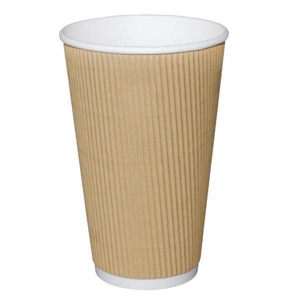 Fiesta Hot Cups Ripple Wall Kraft - 455ml (16oz) (Sleeve 25)-0