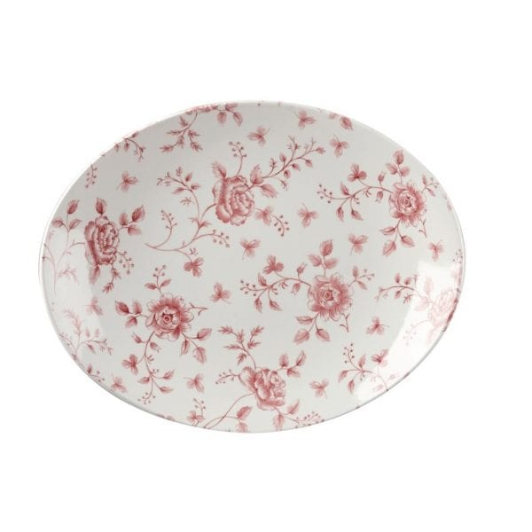 """Churchill Vintage Prints Cranberry Rose Oval Plate - 317mm 12.5"""" (Box 6)(Direct)-0"""