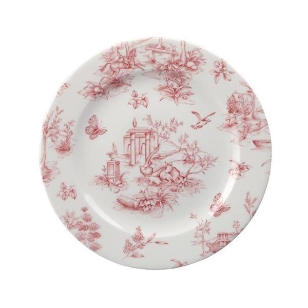 """Churchill Vintage Prints Cranberry Toile Tea Plate 8 1/4"""" 21cm (Box 6) (Direct)-0"""