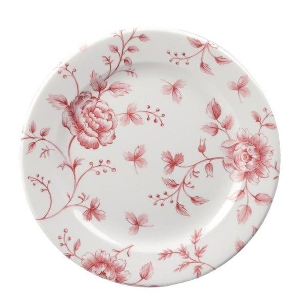 """Churchill Vintage Prints Cranberry Rose Tea Plate 6 5/8"""" 17cm (Box 6) (Direct)-0"""