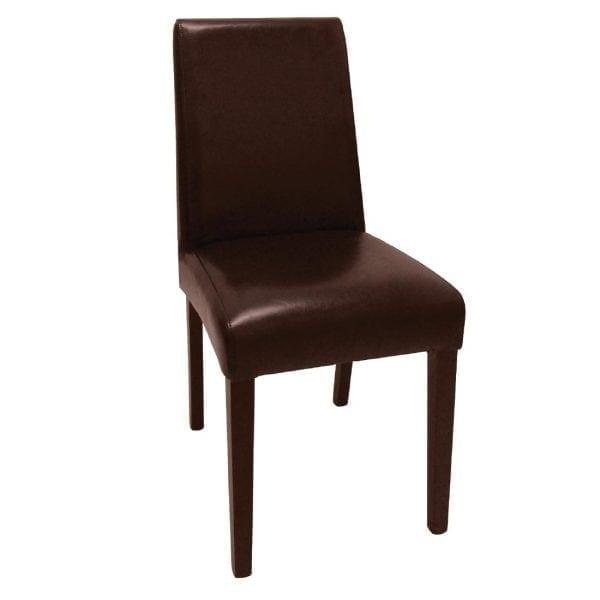 Bolero Faux Leather Dining Chair Dark Brown (Box 2)-0