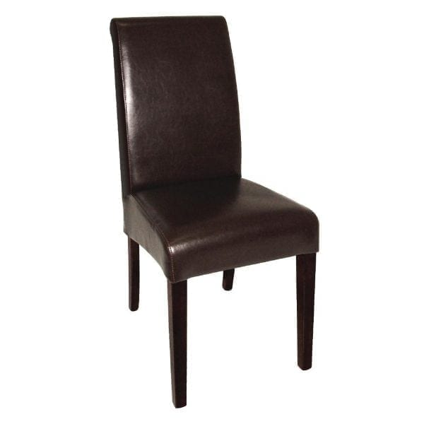 Bolero Curved Back Leather Chair Dark Brown (Pack 2)-0