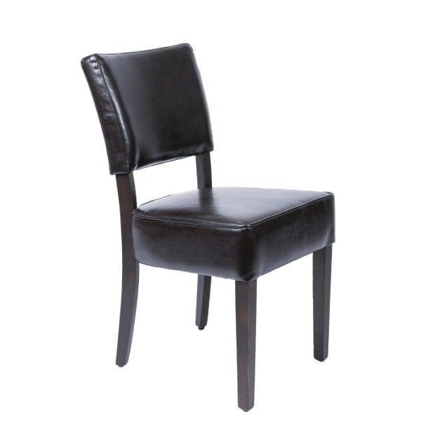 Bolero Deep Seated Faux Leather Chair Dark Brown (Pack 2)-0