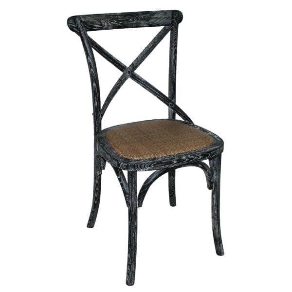 Bolero Wooden Dining Chair with Cross Backrest Black Wash Finish (Box 2)-0