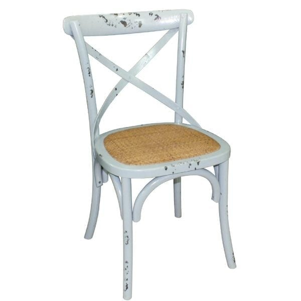Bolero Wooden Dining Chair with Cross Backrest Antique Blue Wash (Box 2)-0