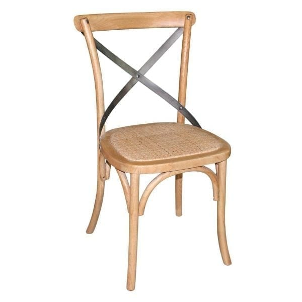Bolero Wooden Dining Chair with Metal Cross Backrest Natural Finish (Box 2)-0