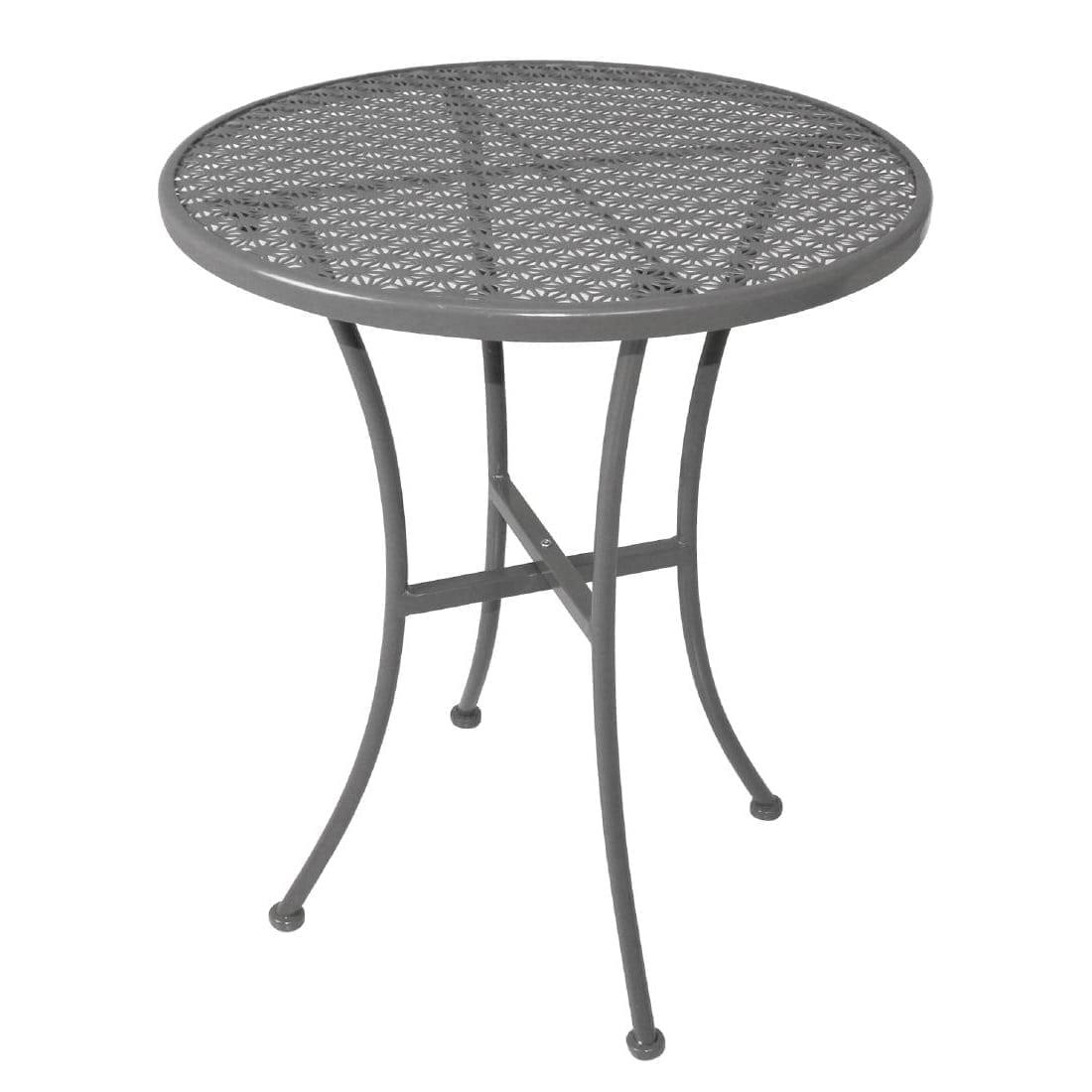 Bolero grey steel patterned bistro table 600mm round loorolls