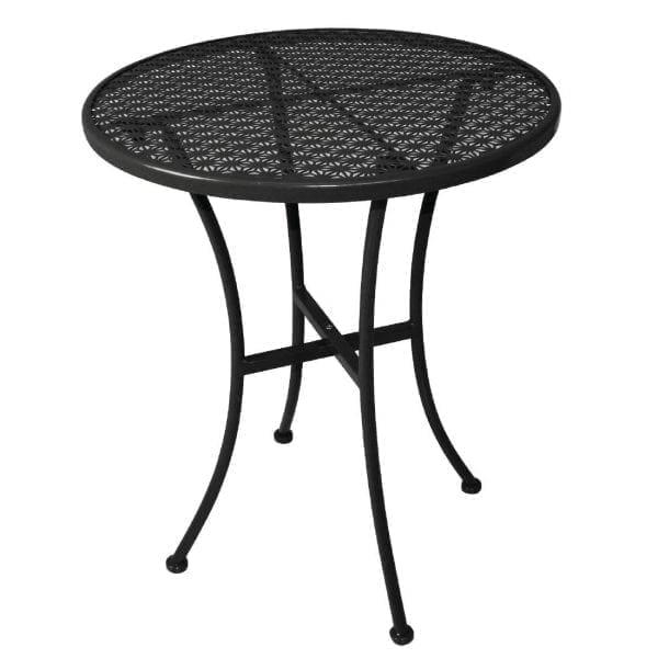 Bolero Black Steel Patterned Bistro Table 600mm Round-0
