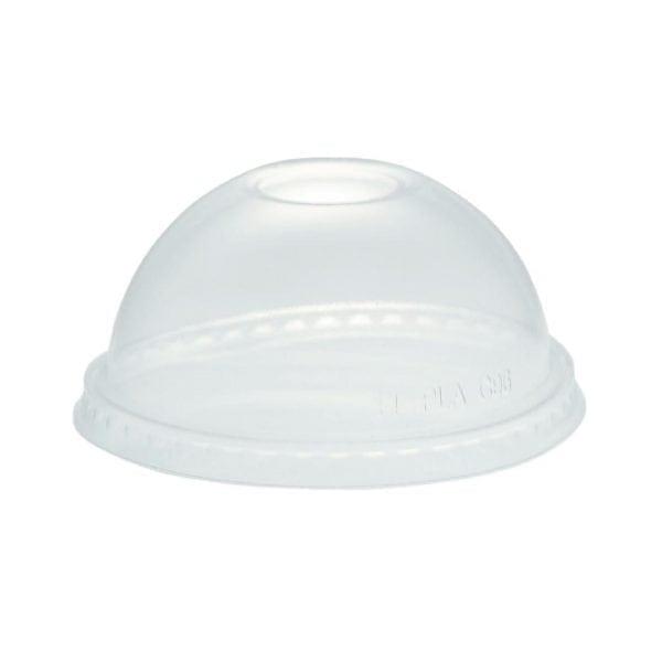 Vegware Sundae Cup Lid - 12/16oz Dome w/straw Hole for GH014& GH015 (Box 1000)-0