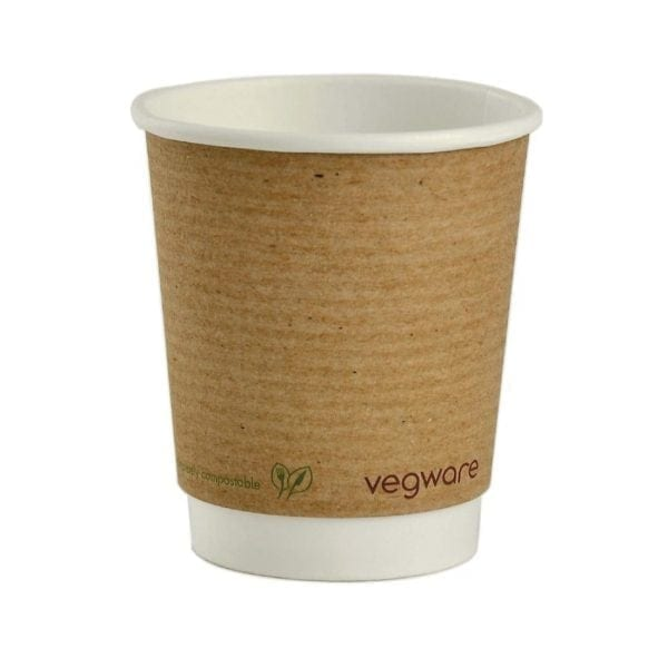 Vegware Hot Cup Kraft Double Wall - 8oz (Box 500)-0