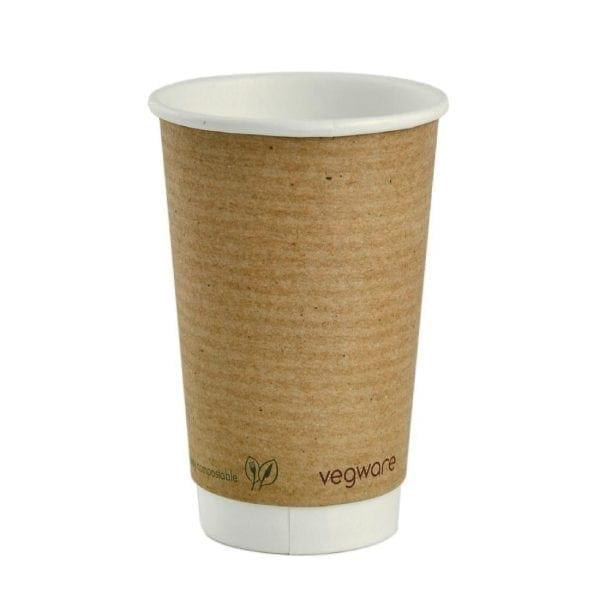 Vegware Hot Cup Kraft Double Wall - 16oz (Box 400)-0
