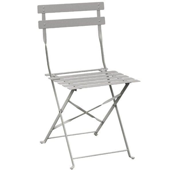 Bolero Grey Pavement Style Steel Chairs (Pack 2)-0