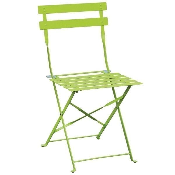 Bolero Lime Green Pavement Style Steel Chairs (Pack 2)-0
