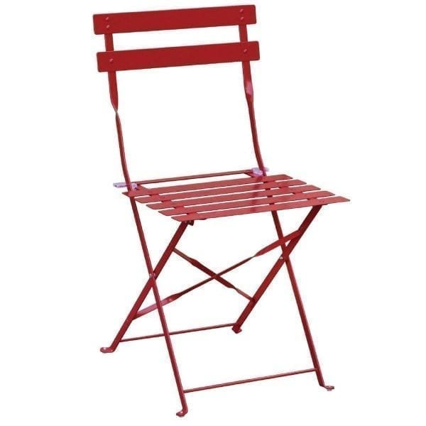 Bolero Red Pavement Style Steel Chairs (Pack 2)-0