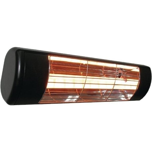 Black Patio Heater 1500watt IP55 220-240V White Bulb-0