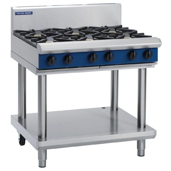 Blue Seal Evolution Cooktop 6 Open Burners 900mm on Stand LPG (Direct)-0