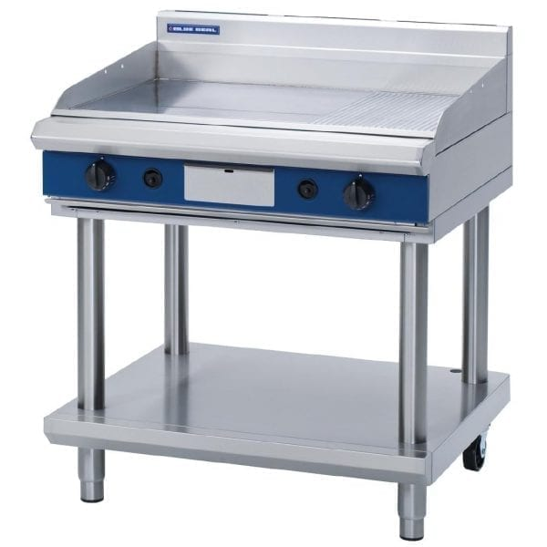 Blue Seal Evolution Chrome 1/3 Ribbed Griddle with Leg Stand LPG - 900mm(Direct)-0