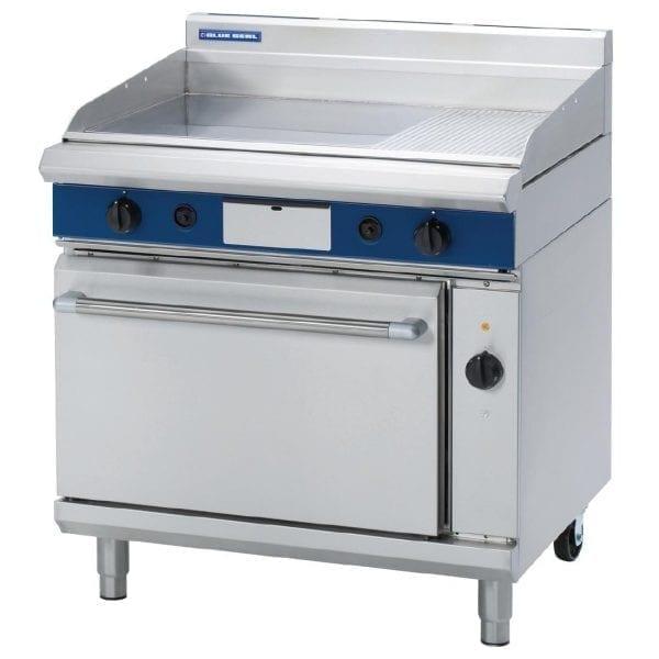 Blue Seal Evolution 1/3 Ribbed Griddle Nat Gas Elec Convection Oven900mm(Direct)-0