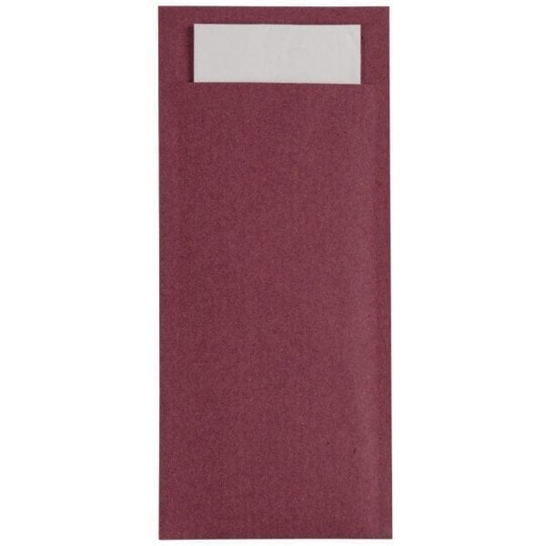 Burgundy Cutlery Pouch with Champagne Napkin (Box 600)