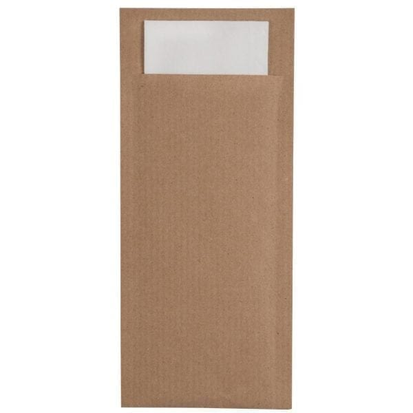 Brown Cutlery Pouch with Grey Napkin (Box 600)