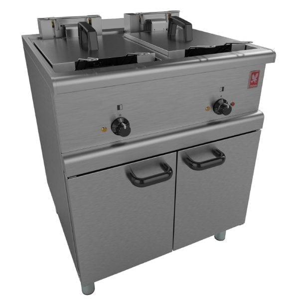 Falcon 350 Series Freestanding Twin Pan Four Basket Electric Fryer Legs (Direct)-0