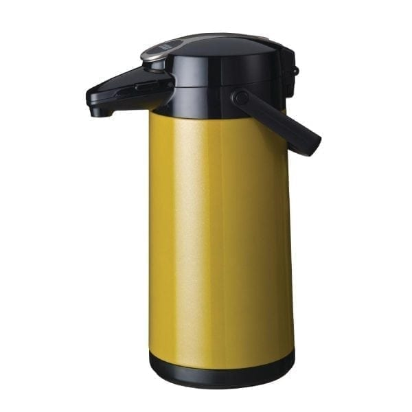 Bravilor Furento 2.2Ltr Airpot with Pump Action Metallic Yellow (St/St)(Direct)-0