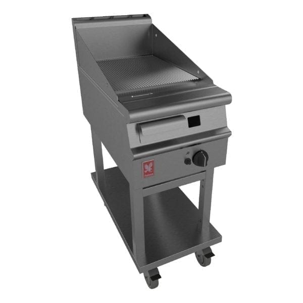 Falcon Dominator Plus 400mm Wide Ribbed Griddle on Mobile Stand Prop Gas(Direct)-0