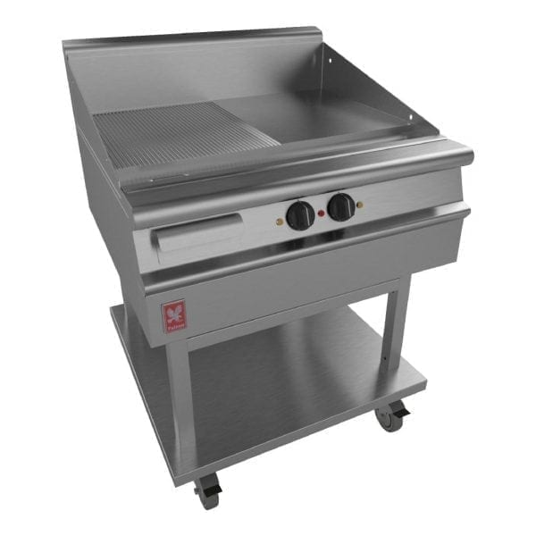 Falcon Dominator Plus 800mm Wide Half Ribbed Griddle on Mobile Stand (Direct)-0