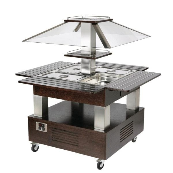 Roller Grill Salad Bar Square Chilled Dark Wood (Direct)-0