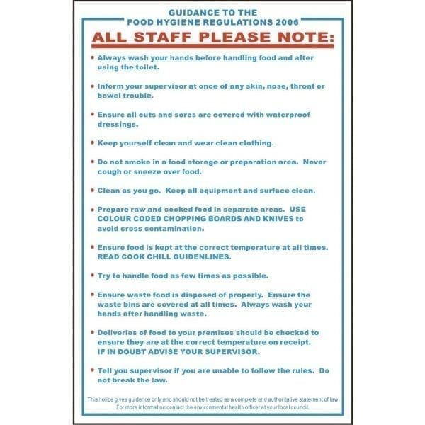 Guide/Food Safety Act Sign - Single (Self-Adhesive)-0