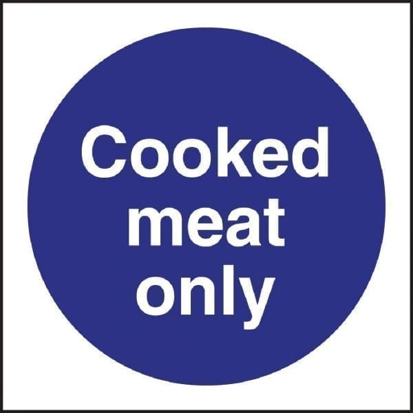 Cooked Meat Only Sign - 100x100mm (Self-Adhesive)-0