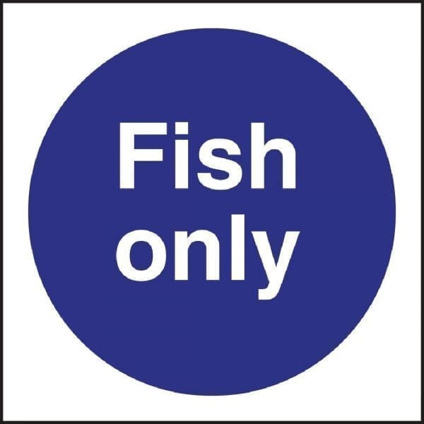Fish Only Sign - Single - 100x100mm (Self-Adhesive)-0