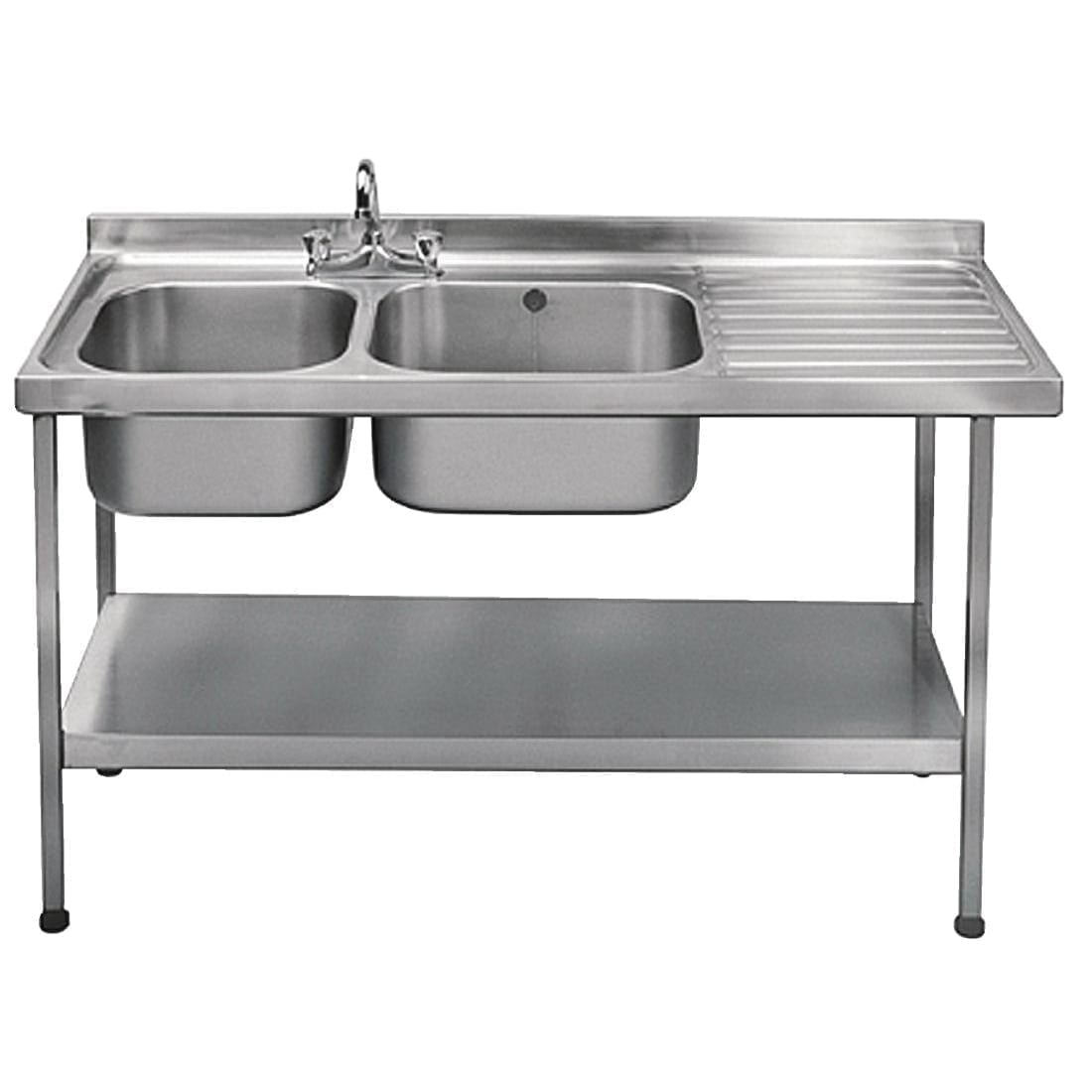 Sissons S/S Sink 1500x600mm Dble L/H Bwl inc taps R/H Drainer Mini Range(Direct)-0
