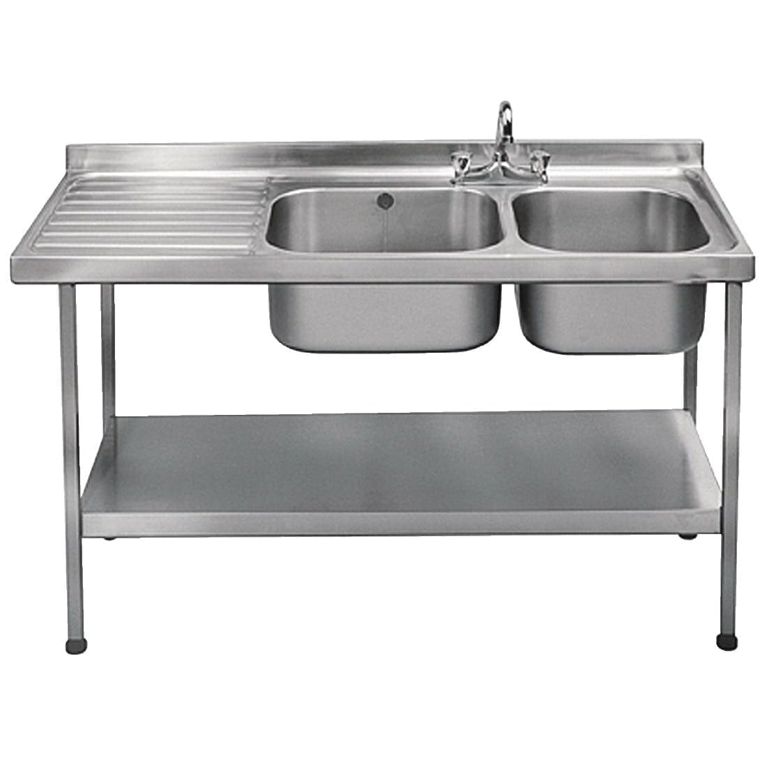 Sissons S/S Sink 1500x600mm Dble R/H Bwl inc taps L/H Drainer Mini Range(Direct)-0