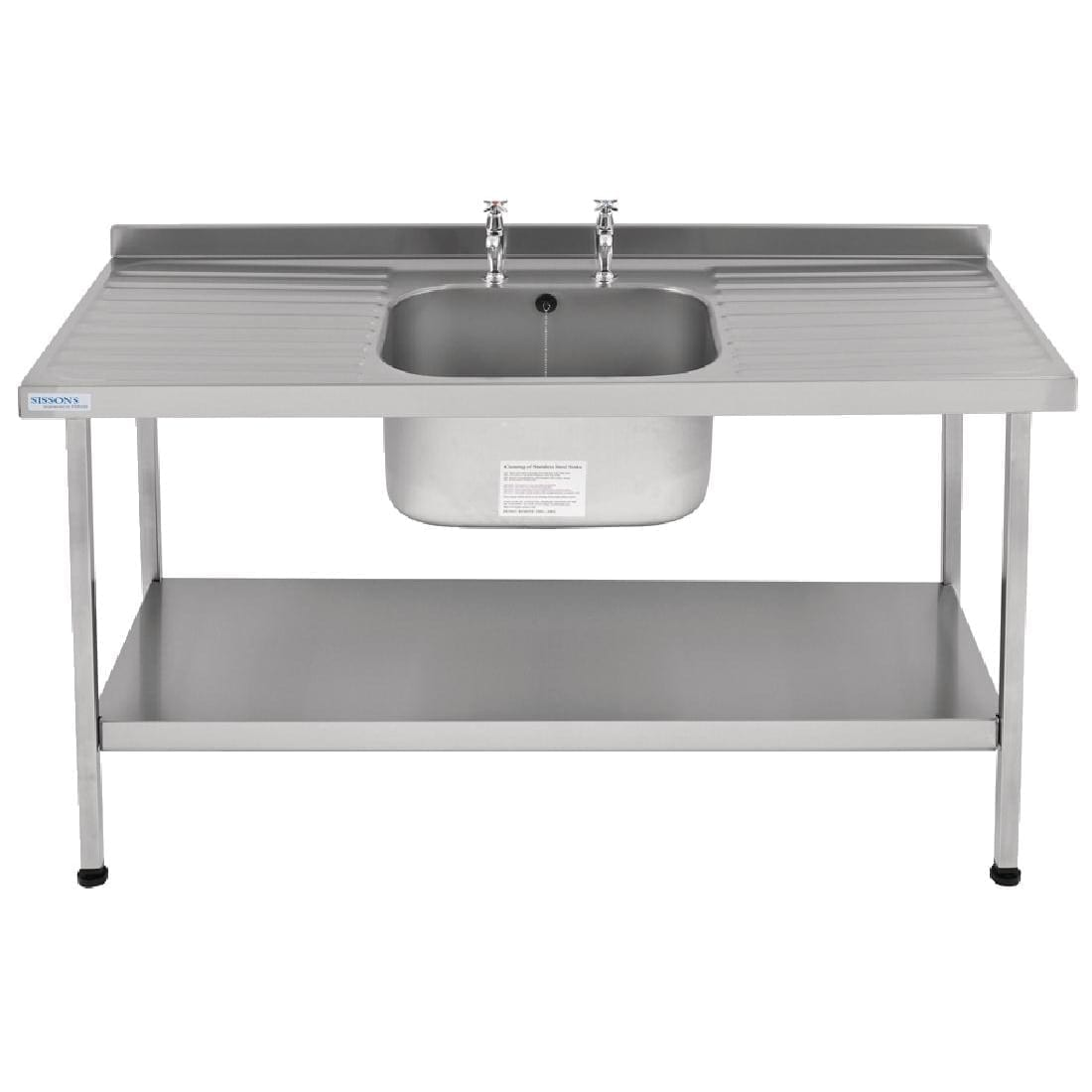 Sissons Centre Bowl inc taps & Double Drainer Midi Range St/St - 1800mm (Direct)-0
