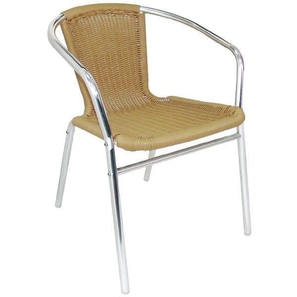Bolero Wicker Chair with Aluminium Frame - Natural Finish (Pack 4)-0
