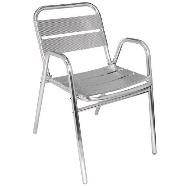 Bolero Stacking Aluminium Chair with Arched Arms (Pack 4)-0