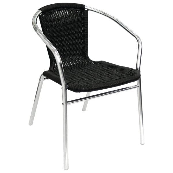 Bolero Wicker Chair with Aluminium Frame - Black Finish (Pack 4-0