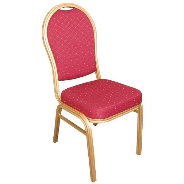 Bolero Banqueting Chair Arched Back Gold Frame Red Speckle Cloth (Pack 4)-0