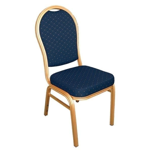 Bolero Banqueting Chair Arched Back Gold Frame Blue Speckle Cloth (Pack 4)-0