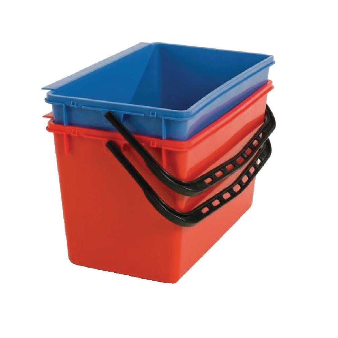 Numatic Mop Buckets x 2 (Red & Blue) - 22Ltr for Janitorial Cart F658 (Direct)-0