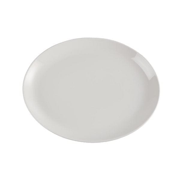 "White Oval Plate/Platter - 340mm 13 1/4"" (Box 12)-0"