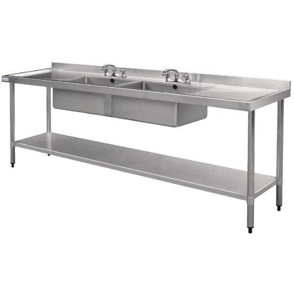 Vogue Double Bowl Sink Double Drainer - 2400mm-0
